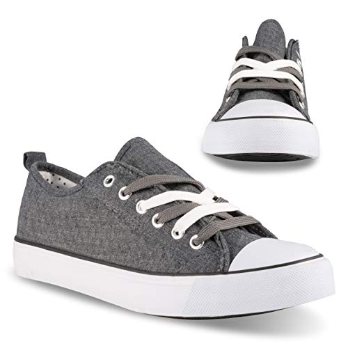 Twisted Kix 192 Low Rise Classic Canvas Fashion Sneakers for Women with Two-Tone Laces, Charcoal, 9