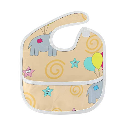 Big Girl Bib Éléphants drôles de bande dessinée mignonne volant sur des ballons Bavoir d'anniversaire de filles tache douce Nourrir bébé bavardant bavoir bavoirs bavoir Burp pour bébé 6-24 mois