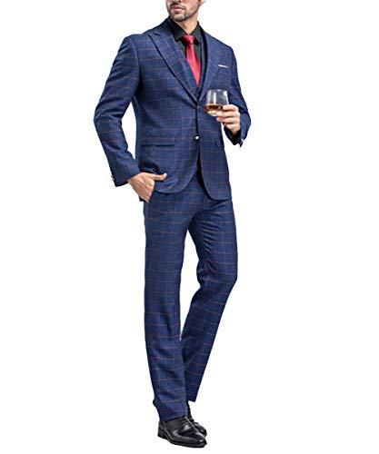 Sliktaa Costume Homme 3 Pièces Formel Smoking de Mariage Business Bal Veste Gilet et Pantalon,M,Bleu-Bleu