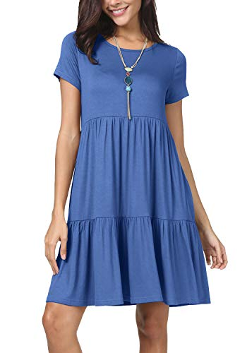 levaca Womens Summer Short Sleeve Casual Loose T Shirt Short Dress Light Blue S