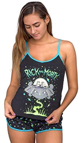 Briefly Stated Rick and Morty Spaceship Juego de Pijama Negro Corto y Parte Superior