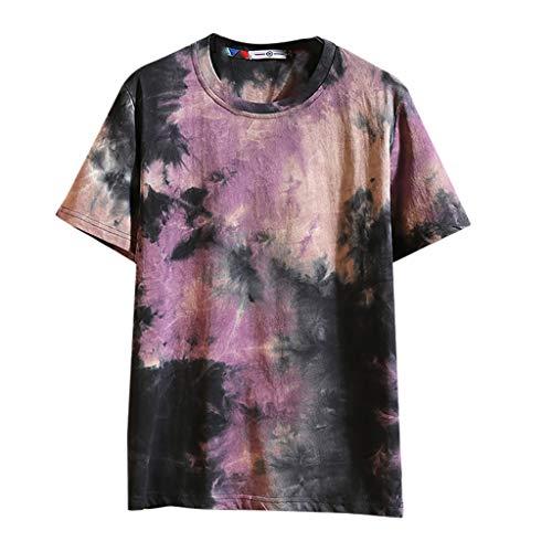 Yowablo Herren T-Shirt mit Rundhalsausschnitt Sommer lässig Modedruck O-Ausschnitt Kurzarm T-Shirt Tops Bluse (XL,5Lila)