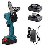 Mini motosierra eléctrica inalámbrica de 4 pulgadas, pequeña sierra eléctrica portátil para el hogar con cargador y 2 batería, velocidad de corte ajustable para cortar madera