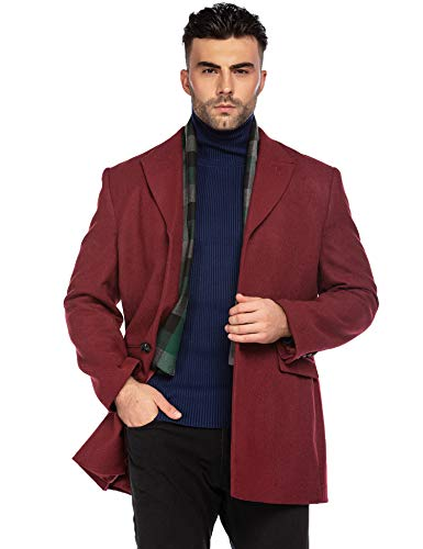 COOFANDY Men's Gentle Notched Collar Single Breasted Wool Blend Pea Coat with Pockets (Wine Red XL)