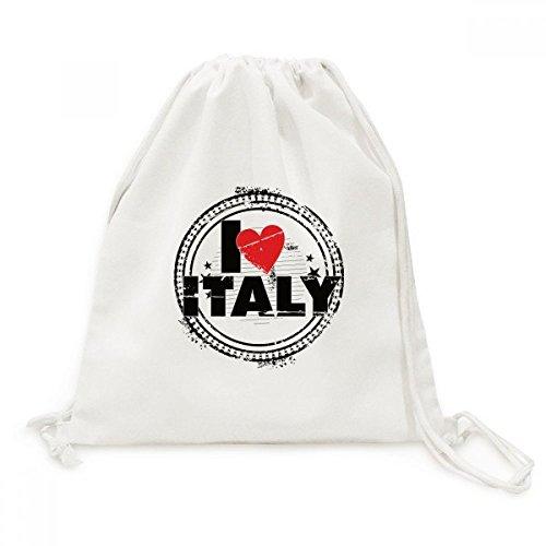 DIYthinker ik hou van Italië woord liefde hart cirkel stempel canvas trekkoord rugzak reizen winkelen zakken