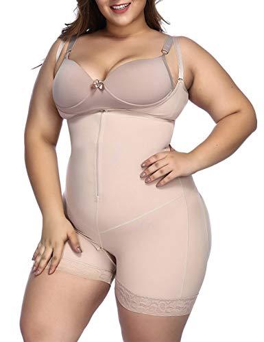 FeelinGirl Mujer Faja Shapewear Lencería Moldeadora Shaper Control de la Panza Bragas Ropa Interior Reductora con Encaje Beige TALLA-48