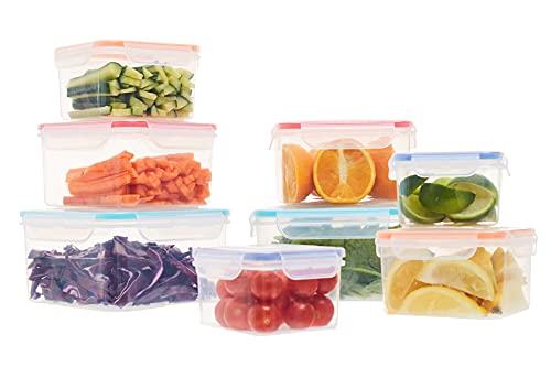 Frischhaltedosen aus Kunststoff mit Deckel, Lunchboxen, wiederverwendbare Lebensmittelaufbewahrung, 8 Stück
