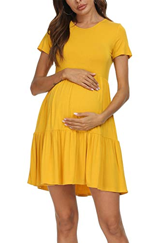 levaca Womens Short Sleeve Casual Materinity Summer Dress Plus Size Yellow L