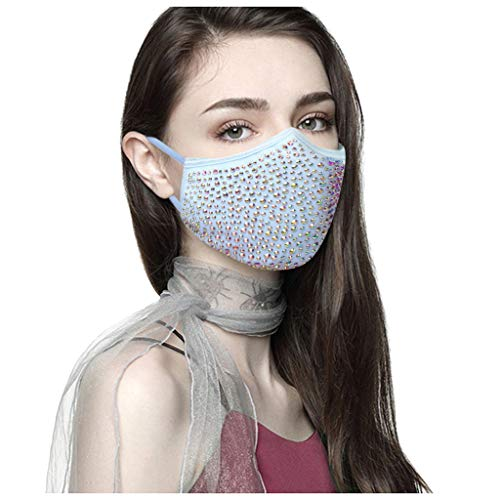 MmNote Women Reusable Face Filters Dustproof Halloween Masquerade Rhinestone Crystals Face Scarf