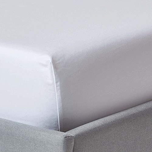 Homescapes Spannbettlaken/Spannbetttuch 180 x 200 cm – 100% Reine ägyptische Baumwolle Fadendichte 1000 – Perkal-Bettlaken in Luxushotel-Qualität, weiß
