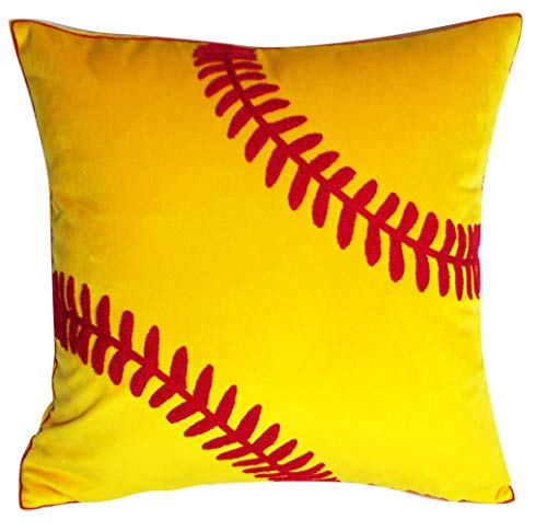 DECOPOW Embroidered Soft Throw Pillow Covers,Square 18 inch Decorative Canvas Pillow Cover for Softball Room Decor(Cover Only,Softball Pattern)