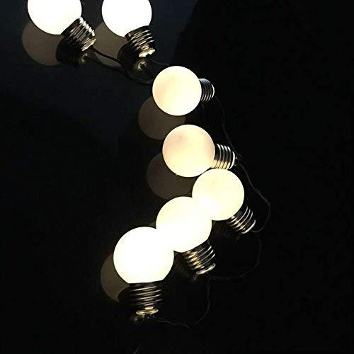 CFLFDC lichtketting, met bollen, grote lamp, touw, lichtbediening, waterbestendig, kleine lampen, 1,8 m, 10 licht (pitch 15 cm), witte melkblazen, warm wit