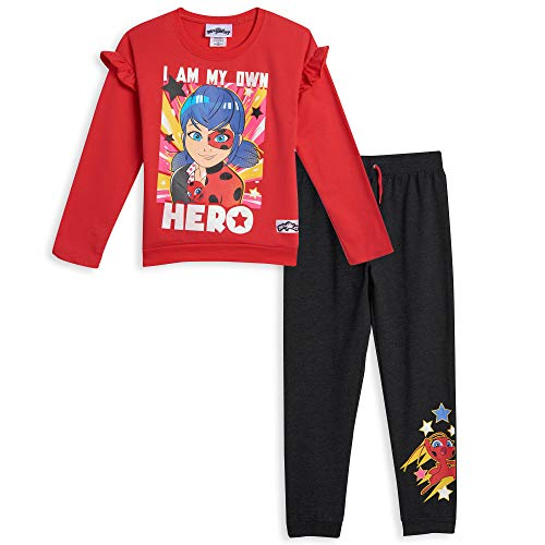 Miraculous Ladybug Big Girls Ruffled High Low T-Shirt & French Terry Pant Set 10-12 Red/Black