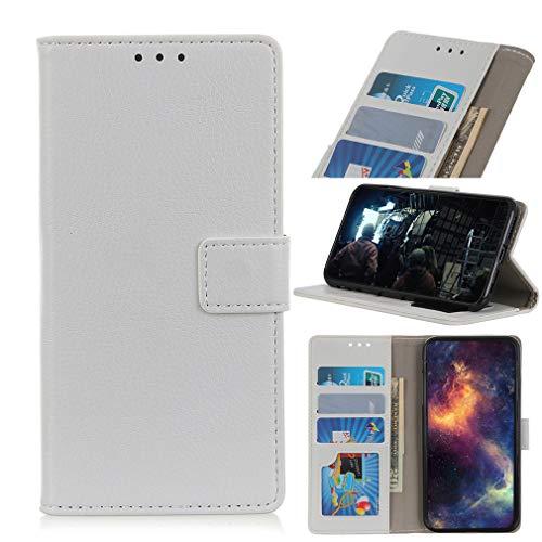 LMFULM® Hülle für LG V60 ThinQ 5G (6,8 Zoll) PU Leder Magnet Brieftasche Lederhülle Litchi Muster Stent-Funktion Ledertasche Flip Cover Weiß