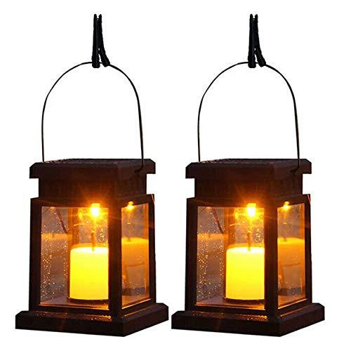 Solar Laterne 2 Stk Solarlaterne Kerzen mit LED Kerze IP44 Wasserdicht Solarlampen Lichter für Hängende Tischlaterne Solar Echt Flacker-Effekt Outdoor Dekoration für Deko Garten Walkway Auffahrt