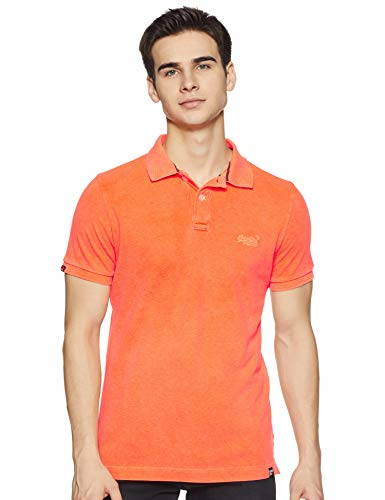 Superdry Vintage Destroyed Polo Homme, Orange,M