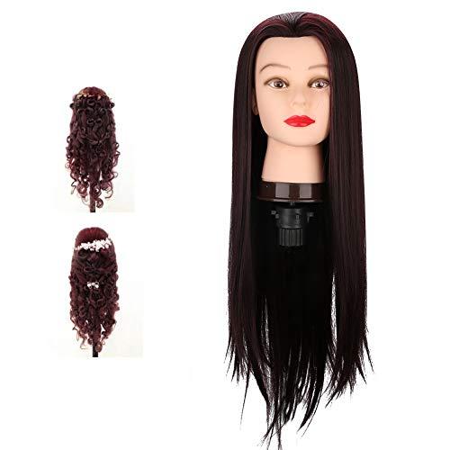 Cabeza de maniquí adecuada, modelo púrpura de fibra sintética Modelo de cabello Temperatura de Fibra Estilo de cabello Hecho de alambre de alta temperatura y PVC