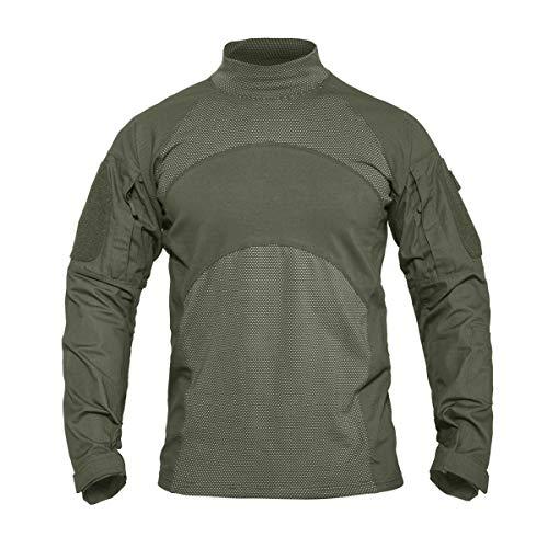KEFITEVD Herren Langarmshirt Slim Fit Outdoor Shirt Stifttaschen Baumwolle Shirt Taktisch Hemd Tactical Army T-Shirt Flecktarn Freizeithemd Oliv XL