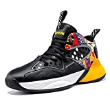 ASHION Littlte/Big/Youth Kids' Cool Basketball Shoe Sports Sneakers Athletic Trainers Gym Shoes Grade School Splash Black/Yellow,2.5 Little Kid