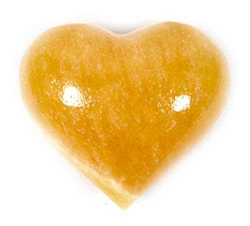 "Warm Orange Crystal Stone Heart, 1.5"" (0.15lbs), Carved from Real North American Calcite - The Artisan Mined Series by hBAR"