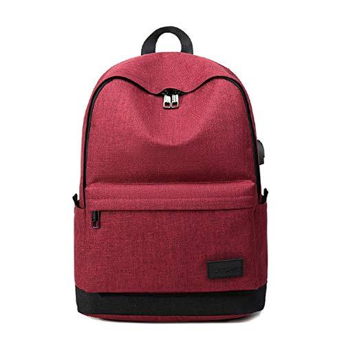 CXQCX Mochila Portatil de hasta 15.6 Pulgadas Mochila Unisex Impermeable,Con Puerto USB Mochila de Hombre y Mujer para La Universidad, Viajes, Trabajo - Rojo