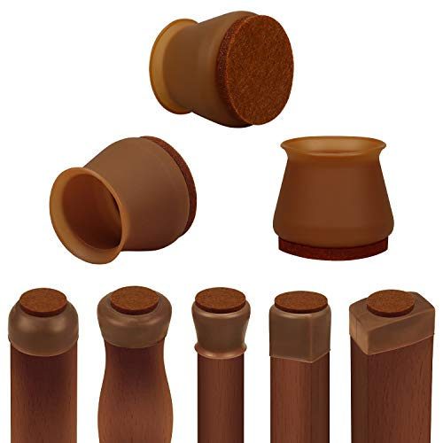 Chair Leg Protectors for Hardwood Floors, 16 PCS Silicone Chair Leg Floor Protectors with Indivisible Felt Pads, Move Furniture Quietly and Protect Your Floors from Scratches(Medium, Dark Walnut)