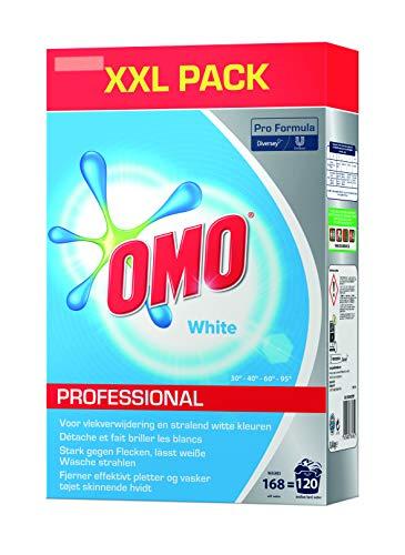 Omo Professional 100963000 kleurwasmiddel, poeder voor stralend witte was, hoge vlekoplossingskracht, voor 120 wasbeurten