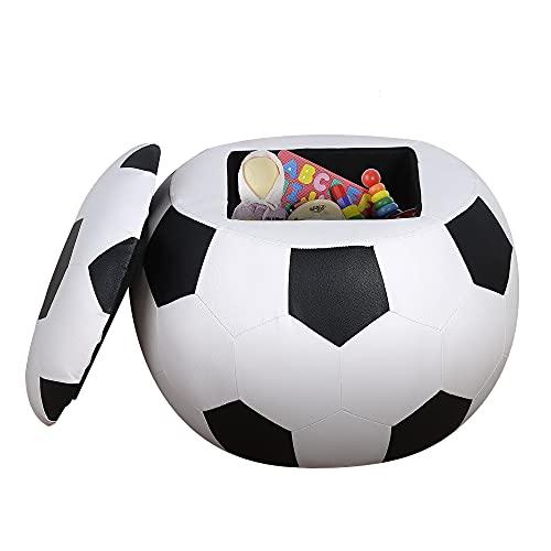 HOMCOM Baúl Puff Taburete para Almacenaje Mini Sofá para Niños Diseño Balón de Fútbol 51,5x51,5x36 cm Blanco y Negro