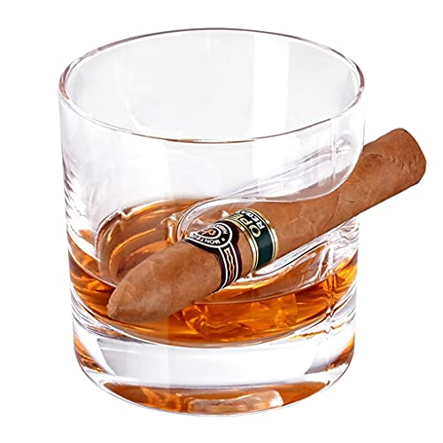 Vaso De Whisky para Cigarros con Porta Cigarros Accesorios para Cigarros Juego De Vasos De Whisky De Cristal Vaso De Roca Adecuado para Cócteles Whisky Escocés Whisky Bourbon Regalos para Hombres