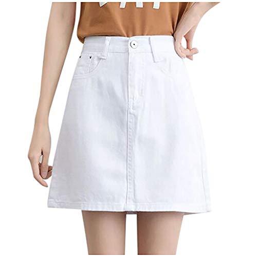 HEling Falda Vaquera de Mujer de Cintura Alta A-Line Casual Ladies Solid Button Mini Fit Faldas