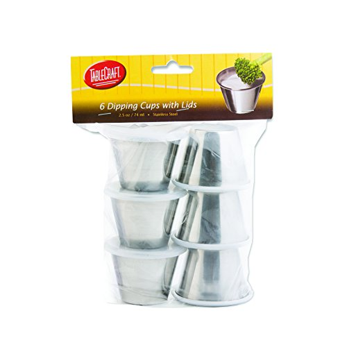 Tablecraft 2.5 oz Dipping Cups with Lids, 2.5-Ounce , 6 Pack, Silver