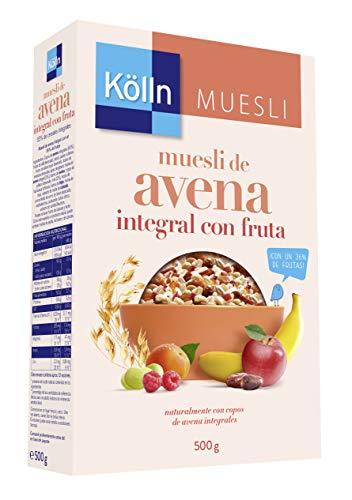 Kölln - Muesli de Avena con Frutas, Cereales Integrales, Avena con Pasas Sultanas, dátiles, manzana, albaricoque y frambuesa - 500 g
