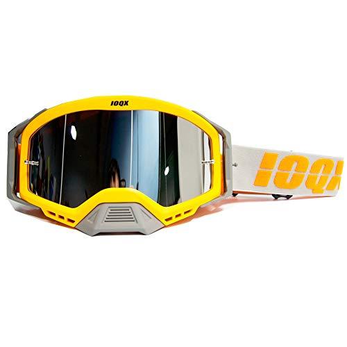 Gafas De Moto,Gafas De Motocross Motocicleta Gafas de sol Motocross Seguridad Protección Noche Visión Noche Casco Gafas Conductor Conducción Gafas (Color : Orange single)