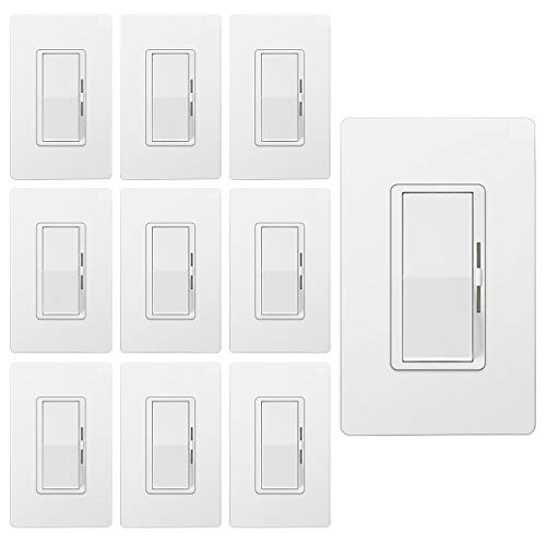 [10 Pack] BESTTEN Dimmer Light Switch, Single Pole or 3 Way, for Dimmable LED Lights, CFL, Incandescent, Halogen Bulbs, Precise Lighting Control, Screwless Wallplate Included, UL Listed, White