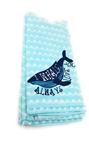 "Cynthia-Rowley Aqua ""I Whale Always Love You"" 100% Cotton 2-PC Kitchen Towel Set, 18"" x 28"""