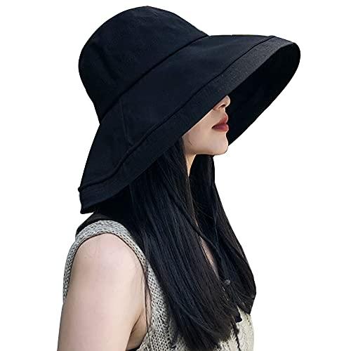 KOZMOZ 紫外線カット 帽子 レディース ハット つば広 小顔効果抜群 取り外すあご紐 風で飛ばない 折りたたみ 持ち運び 紫外線対策 日よけ 熱中症予防 ブラック