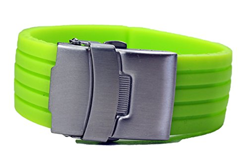 GRÜNES KAUTSCHUK SILIKON Armband Taucher Diver 22mm FALTSCHLIEßE