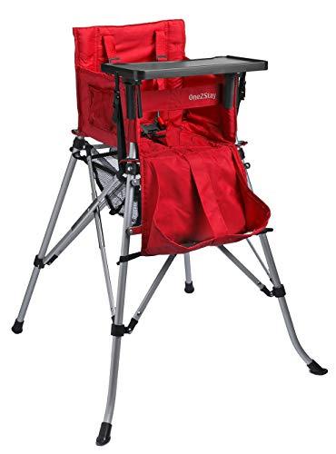 One2Stay basic+, Faltbare Hochstuhl mit 5-Punkt Sicherheitsgurt und Abnehmbarer Esstisch, rot