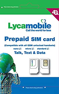 Lycamobile Sim Card $29 Plan Prepaid 1 Month Service - Both Port in and New Activiation Supported