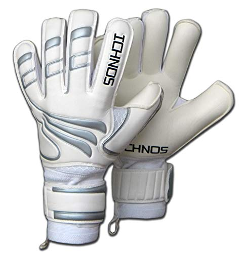ICHNOS Efis Novus Voetbal keepershandschoenen met vinger plaatjes Wit/Zilver