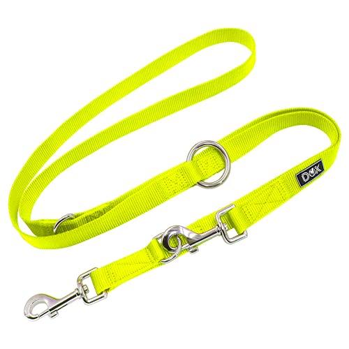 DDOXX Hundeleine Nylon, 3fach verstellbar, 2m   für kleine & große Hunde   Doppel-Leine Zwei Hund Katze Welpe   Schlepp-Leine groß   Führ-Leine klein   Lauf-Leine Welpen-Leine   XS, Gelb