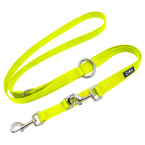 DDOXX Hundeleine Nylon, 3fach verstellbar, 2m | für kleine & große Hunde | Doppel-Leine Zwei Hund Katze Welpe | Schlepp-Leine groß | Führ-Leine klein | Lauf-Leine Welpen-Leine | XS, Gelb