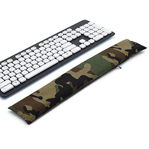 Almohadilla de apoyo para teclado y ratón, lavable, para túneles carpianos, trabajadores de oficina, masaje Ergobeads y tela de algodón (Camuflaje)
