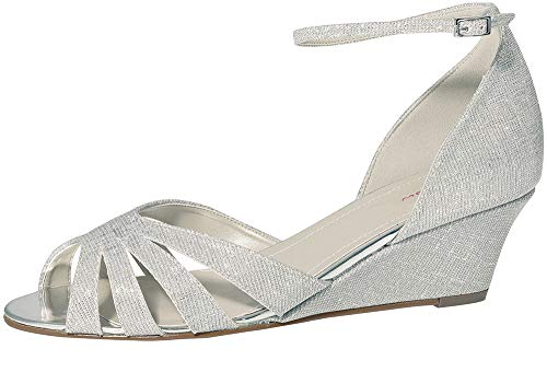 Rainbow Club Brautschuhe Michelle - Damen Sandaletten gepolstert, Glitzer, Silber Metallic - Gr. 41 (UK 8)