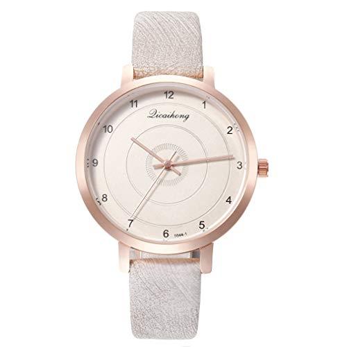 FOY Reloj de cuarzo con círculos concéntricos de personalidad femenina Reloj con escala digital Reloj blanco