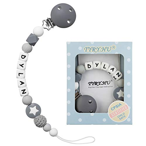 Schnullerkette mit Namen für Mädchen und Jungs Personalisierte Schnuller Dummy Clips Beißring Silikon Babydusche