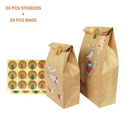 Kylewo 24 stuks geschenktasjes met stickers, Kerstmis geschenktasjes papieren zak chocolade snoepgoed organizer cadeaubox partytas