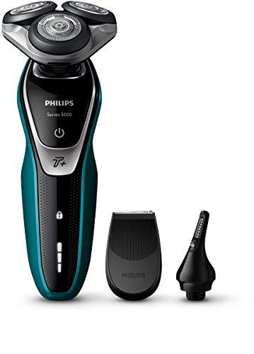 Philips SHAVER Series 5000 - Afeitadora (Máquina de afeitar de rotación, SH50, 2 año(s), Negro, Verde, Plata, LED, Batería)