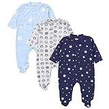 TupTam Baby Jungen Schlafstrampler mit Fuß 3er Pack, Farbe: Farbenmix 3, Größe: 56