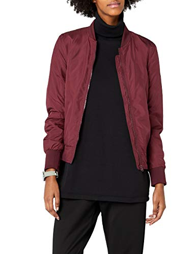 Urban Classics TB1217 Damen Jacke Ladies Light Bomber Jacket, Rot (Burgundy 606), 34 (Herstellergröße: XS)